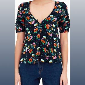 Zara v neck top with draped sleeves floral peplum